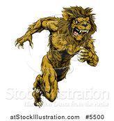 Vector Illustration of a Muscular Male Lion Mascot Running Upright by AtStockIllustration