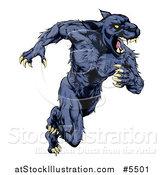 Vector Illustration of a Muscular Panther Mascot Running Upright by AtStockIllustration