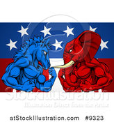 Vector Illustration of a Muscular Political Aggressive Democratic Donkey or Horse and Republican Elephant Battling over an American Flag and Burst by AtStockIllustration