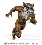 Vector Illustration of a Muscular Raccoon Man Mascot Running Upright by AtStockIllustration
