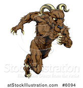 Vector Illustration of a Muscular Ram Monster Man Running Upright by AtStockIllustration