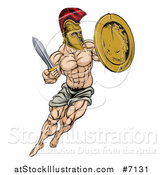 Vector Illustration of a Muscular Spartan Man in a Helmet Fighting and Jumping with a Sword and Shield by AtStockIllustration