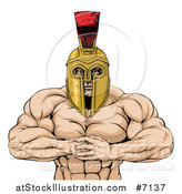 Vector Illustration of a Muscular Spartan Warrior Man Gesturing Bring It with His Fists by AtStockIllustration