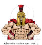 Vector Illustration of a Muscular Spartan Warrior with a Bare Chest and Hands on His Hips by AtStockIllustration