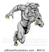 Vector Illustration of a Muscular Sports Bulldog Mascot Running by AtStockIllustration