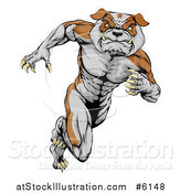 Vector Illustration of a Muscular Tough Bulldog Man Mascot Running Upright by AtStockIllustration