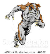 Vector Illustration of a Muscular Tough Bulldog Man Mascot Sprinting Upright by AtStockIllustration