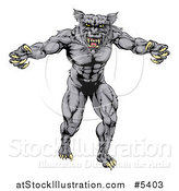 Vector Illustration of a Muscular Vicious Wolf by AtStockIllustration