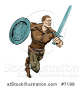 Vector Illustration of a Muscular Viking Warrior Sprinting with a Sword and Shield by AtStockIllustration