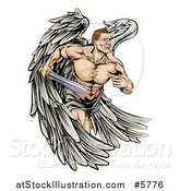 Vector Illustration of a Muscular Warrior Angel Running with a Sword by AtStockIllustration