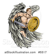 Vector Illustration of a Muscular Warrior Angel with a Sword and Shield by AtStockIllustration