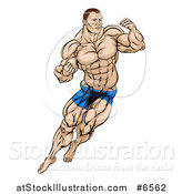 Vector Illustration of a Muscular White Male MMA Wrestler or Fighter in Action by AtStockIllustration