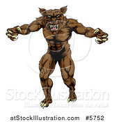 Vector Illustration of a Muscular Wolf Man Attacking by AtStockIllustration