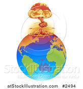 Vector Illustration of a Mushroom Cloud Explosion on Earth by AtStockIllustration