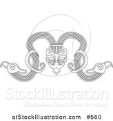Vector Illustration of a Native Horned Creature by AtStockIllustration