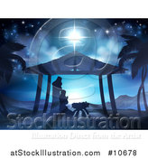 Vector Illustration of a Nativity Scene of Mary and Joseph Praying over Baby Jesus in a Manger by AtStockIllustration