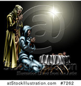 Vector Illustration of a Nativity Scene of the Star, Praying Joseph and Mary and Baby Jesus by AtStockIllustration