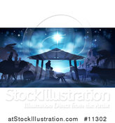 Vector Illustration of a Nativity Scene with Animals, Wise Men, the City of Bethlehem and Star of David by AtStockIllustration