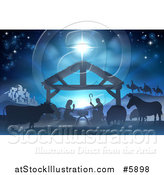 Vector Illustration of a Nativity Scene with the Animals and Wise Men in the Distance and the City of Bethlehem by AtStockIllustration