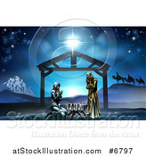 Vector Illustration of a Nativity Scene with the Animals and Wise Men in the Distance and the City of Bethlehem, Mary and Joseph Praying in the Manger by AtStockIllustration