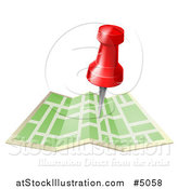 Vector Illustration of a Navigation Pin over a Map by AtStockIllustration