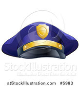 Vector Illustration of a Navy Blue Police Man's Hat with Gold Accents by AtStockIllustration