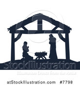 Vector Illustration of a Navy Blue Silhouette of Mary and Joseph Praying over Baby Jesus in a Manger by AtStockIllustration