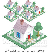 Vector Illustration of a Neighborhood in a Suburban Residential Subdivision Housing Area by AtStockIllustration