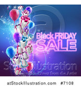Vector Illustration of a Neon Black Friday Sale Text with 3d Party Balloons and Floating Gifts on Blue by AtStockIllustration