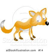 Vector Illustration of a Nervous or Shy Fox Looking Back over His Shoulder by AtStockIllustration