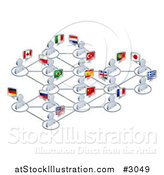 Vector Illustration of a Network of 3d Avatar People with Flags by AtStockIllustration