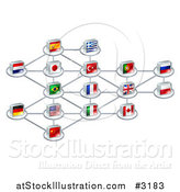 Vector Illustration of a Network of 3d National Flags by AtStockIllustration