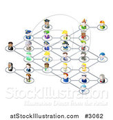 Vector Illustration of a Network of 3d Occupational People by AtStockIllustration
