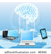 Vector Illustration of a Network of Laptops, Cell Phones, and Computers Connected to a 3d Brain by AtStockIllustration