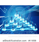 Vector Illustration of a Network of Silhouetted People Connected on a Blue Background by AtStockIllustration