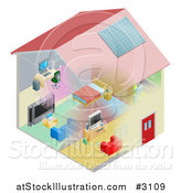 Vector Illustration of a Networking and Wireless Items in a House by AtStockIllustration