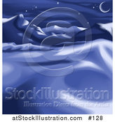 Vector Illustration of a Night Winter Landscape with Snow, Mountains and the Moon by AtStockIllustration