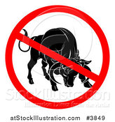 Vector Illustration of a No Bull Prohibited Symbol over a Cow by AtStockIllustration