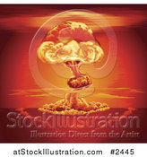 Vector Illustration of a Nuclear Explosion Mushroom Cloud and Red Sky by AtStockIllustration
