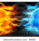 Vector Illustration of a Opposite Profiled Fire and Ice Female Faces on Black by AtStockIllustration
