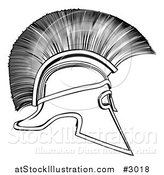 Vector Illustration of a Outlined Spartan Corinthian Helmet by AtStockIllustration