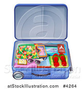 Vector Illustration of a Packed Travel Suitcase with Summer Gear by AtStockIllustration