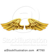 Vector Illustration of a Pair of 3d Metal Gold Wings by AtStockIllustration