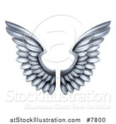 Vector Illustration of a Pair of 3d Metal Silver Wings by AtStockIllustration