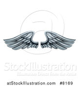 Vector Illustration of a Pair of 3d Silver Metal Wings by AtStockIllustration