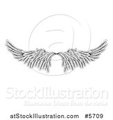Vector Illustration of a Pair of Black and White Angel or Eagle Wings by AtStockIllustration