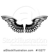 Vector Illustration of a Pair of Black and White Etched Wings by AtStockIllustration