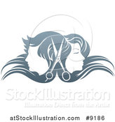 Vector Illustration of a Pair of Scissors Between Male and Female Faces Back to Back, in Profile, with Long Hair Waving in the Wind by AtStockIllustration