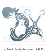 Vector Illustration of a Pair of Scissors Cutting Hair in Front of Male and Female Faces by AtStockIllustration