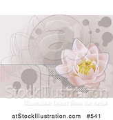 Vector Illustration of a Pale Pink Lotus Waterlily Grunge Background by AtStockIllustration